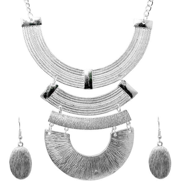 Urthn Geometric Silver Plated Costume Necklace Set