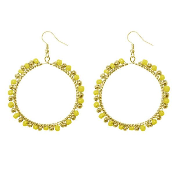 Urthn Yellow Beads Round Shaped Dangler Earring