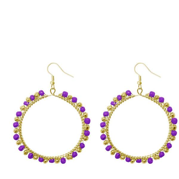 Urthn Purple Beads Gold Plated Round Shaped Dangler Earring