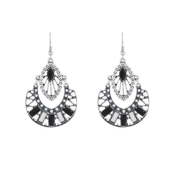 Urthn Rhodium Plated Black Resin Stone Dangler Earrings - 1311802B