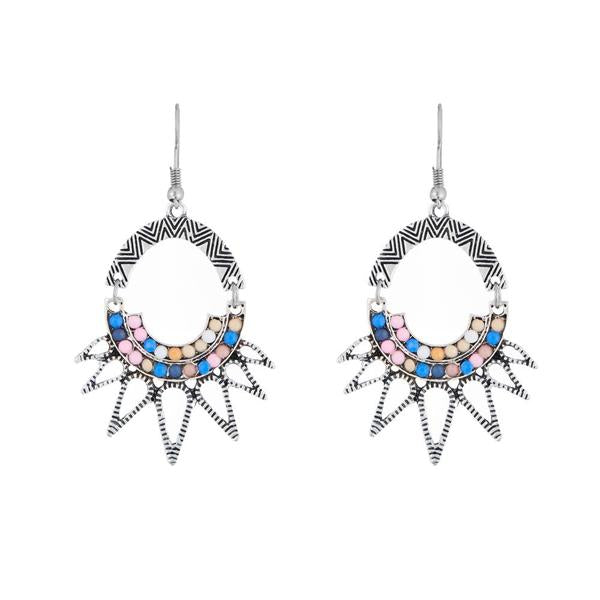 Urthn Multicolor Stone Rhodium Plated Dangler Earrings - 1311806A