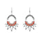 Urthn Orange Resin Stone Rhodium Plated Dangler Earrings - 1311806B