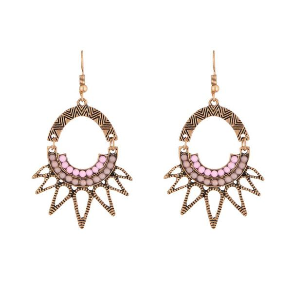 Urthn Pink Resin Stone Antique Gold Plated Dangler Earrings - 1311806D