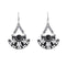 Urthn Black Resin Stone Oxidised Dangler Earrings - 1311818B