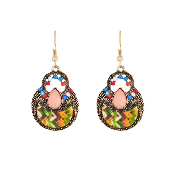 Urthn Multicolor Resin Antique Gold Plated Dangler Earrings - 1311822C