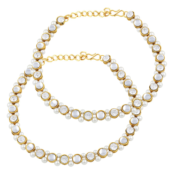 Asmitta Royal Traditional Gold toned Anklet For Women - AN103JRGLDSS8