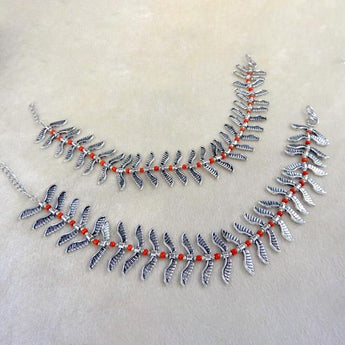 Jeweljunk Silver Plated Orange Anklet Set - BJA21