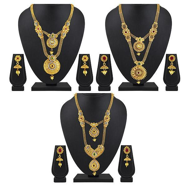 Asmitta Bridal Jewellery Set Gold Plated Necklaces With Earrings Combo - CB199BRGLDIA0