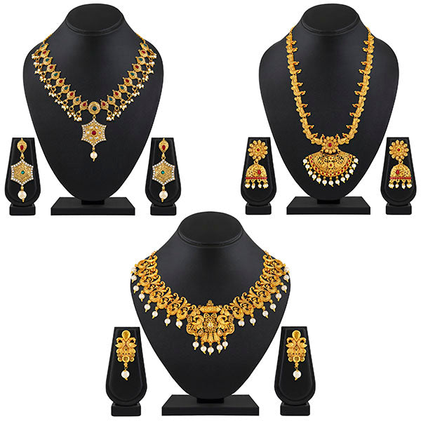 Asmitta Long Haram With Choker White Pearl Gold Plated Necklace Set Combo