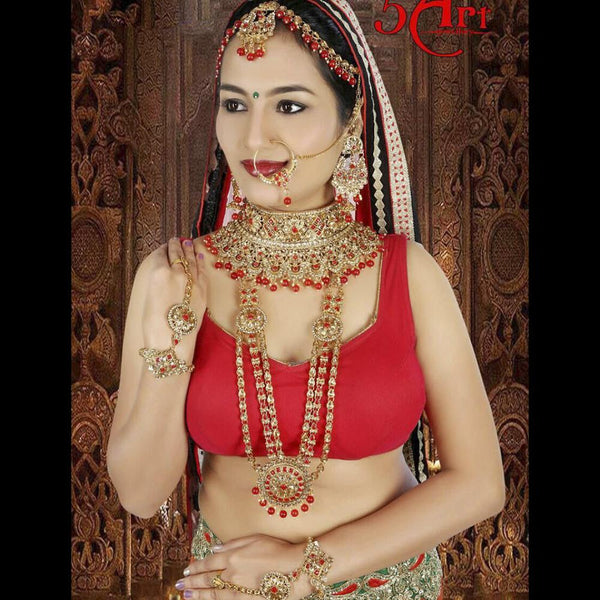 Tip Top Jewellers Traditional Gold Plated Red Stone And Pearl Bridal Jewellery Set for Women - D.No-532