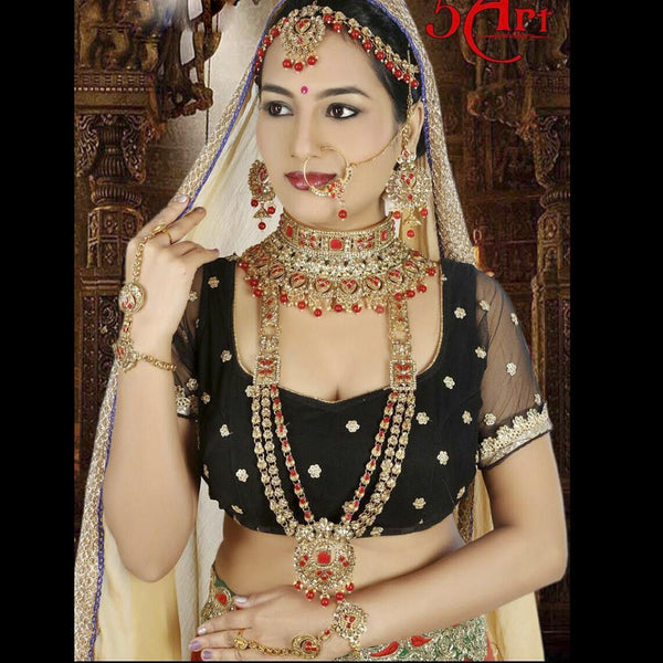 Tip Top Jewellers Traditional Gold Plated Red Stone And Pearl Bridal Jewellery Set for Women - D.No-533