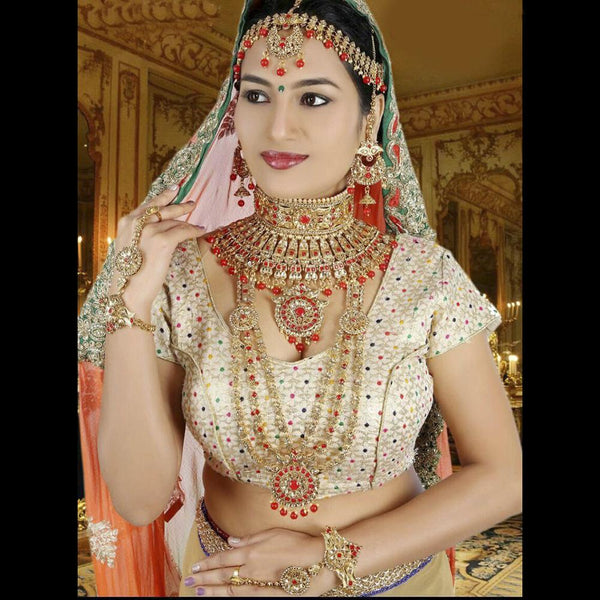 Tip Top Jewellers Traditional Gold Plated Red Stone And Pearl Bridal Jewellery Set for Women - D.No-534