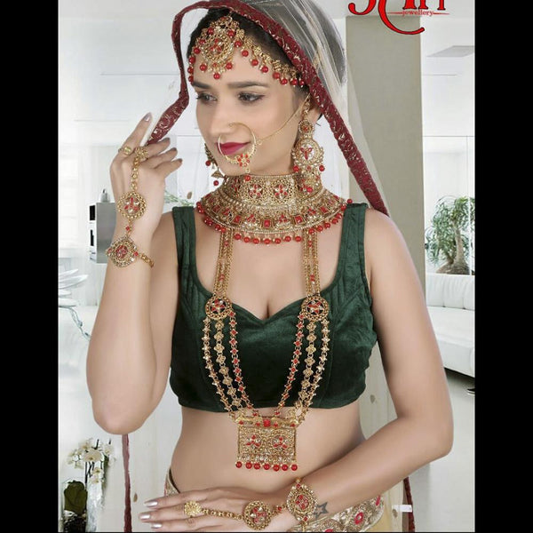 Tip Top Jewellers Traditional Gold Plated Red Stone And Pearl Bridal Jewellery Set for Women - D.No-538