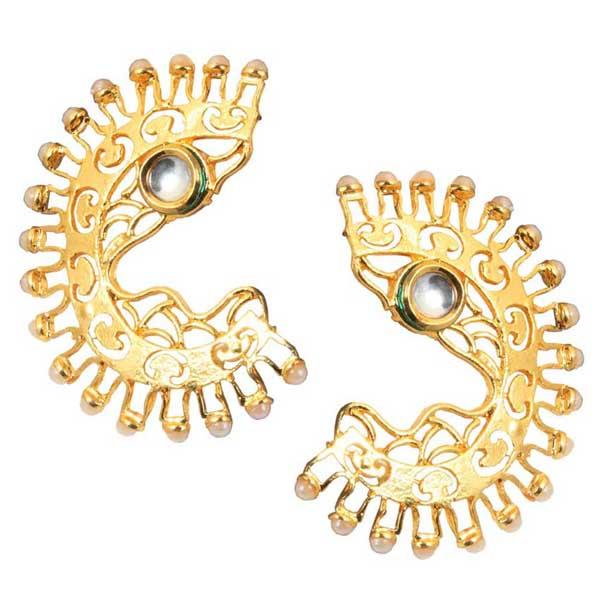 Aurum Kundan Pearl Gold Plated Dangler Earrings - 1305001