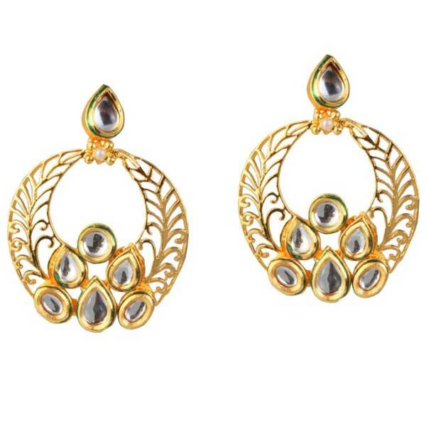 Tip Top Fashions Kundan Meenakari Gold Plated Dangler Earrings - 1305006