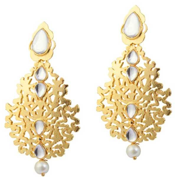 Aurum Kundan Gold Plated Dangler Earrings - 1305009