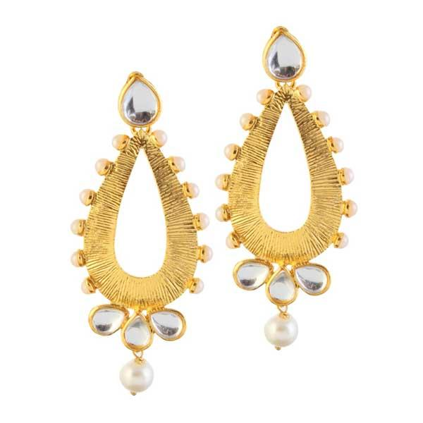 Tip Top Fashions Kundan Gold Plated Dangler Earrings - 1305018