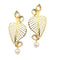 Kriaa Kundan Gold Plated Leaf Dangler Earrings - 1305021