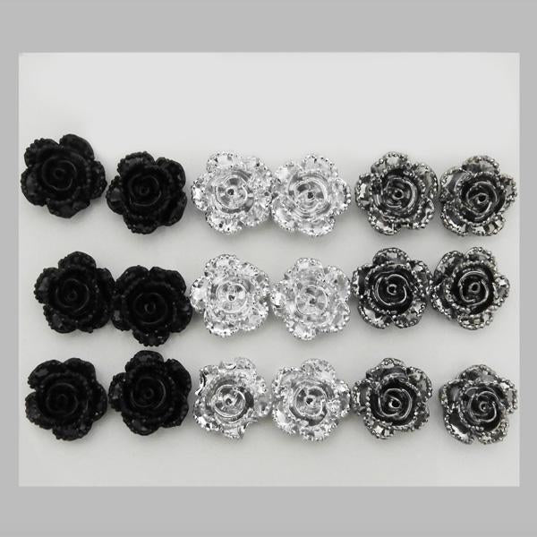 14Fashions Black And Grey 9 Pair of Stud Earrings Sets - 1309203