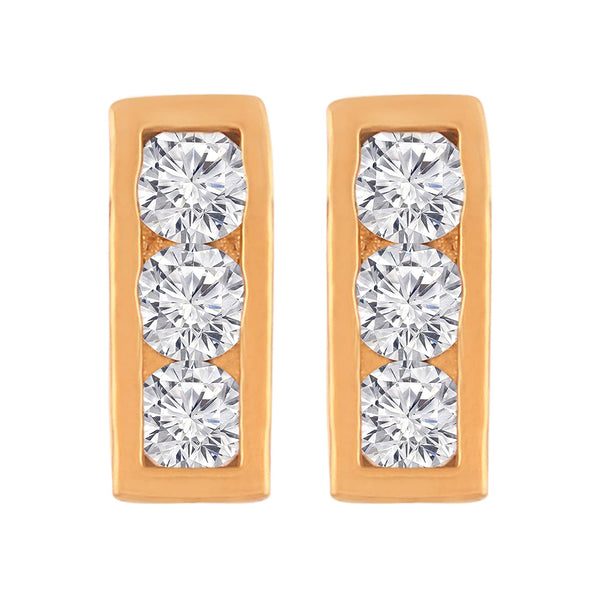 I Jewels Gold Plated Cubic Zirconia Stud Earrings for Women (E2703)