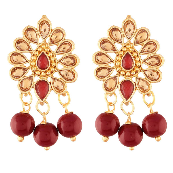 I Jewels Traditional Gold Plated Kundan & Pearl Earrings for Women (E2737M)