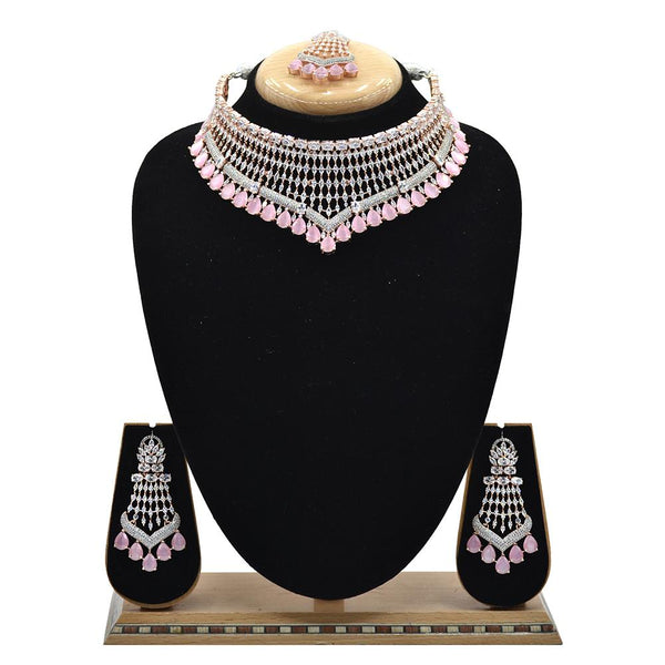 Emerald American Diamond Necklace With Touch Of Mint Pink Stones - EJAN0001