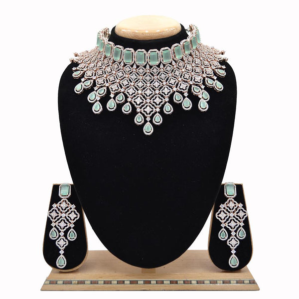 Emerald American Diamond Necklace With Touch Of Mint Green Stones - EJAN0007