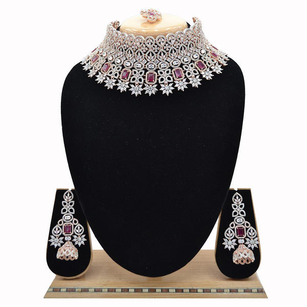 Emerald American Diamond Necklace With Touch Of Ruby Stones - EJAN0013