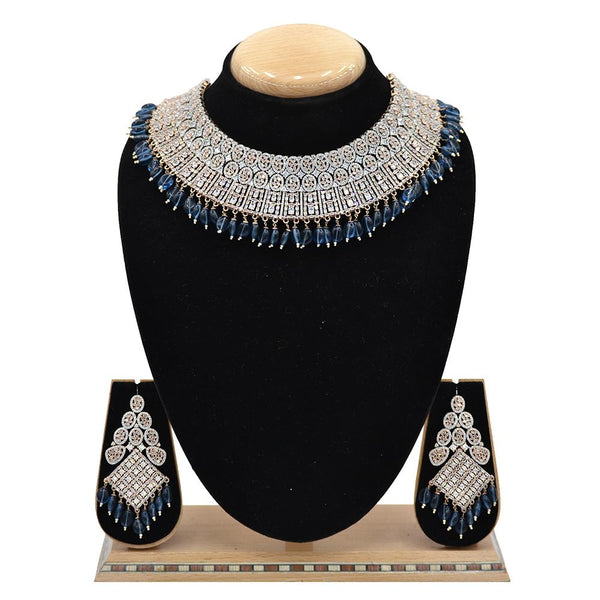 Emerald American Diamond Necklace With Touch Of Blue Hangings - EJAN0019