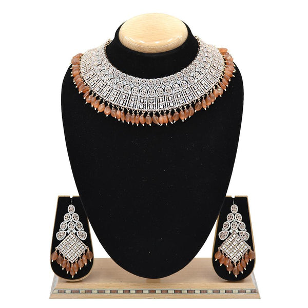 Emerald American Diamond Necklace With Touch Of Peach Hangings - EJAN0020