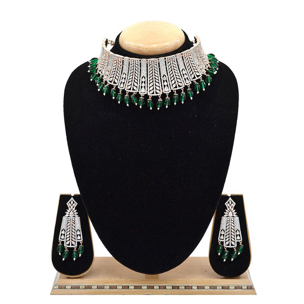 Emerald American Diamond Necklace With Touch Of Bottle Green Hangings - EJAN0021