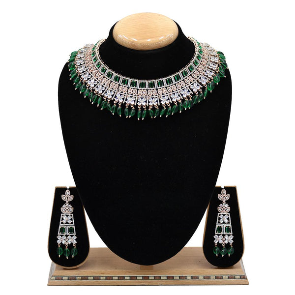 Emerald American Diamond Necklace With Touch Of Bottle Green Stones And Hangings - EJAN0024
