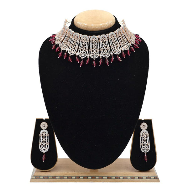 Emerald American Diamond Necklace With Touch Of Rani Hangings - EJAN0028