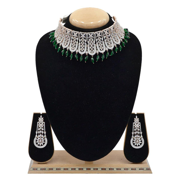 Emerald American Diamond Necklace With Touch Of Bottle Green Hangings - EJAN0030