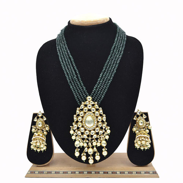 Emerald Pachi Kundan Jadau Pendent Set With Jade Green Mala And Jadau Kundan Jhumki - Ejkm0015