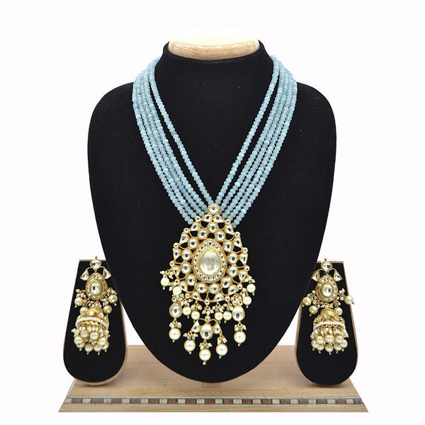 Emerald Pachi Kundan Jadau Pendent Set With Sky Blue Mala And Jadau Kundan Jhumki - Ejkm0017