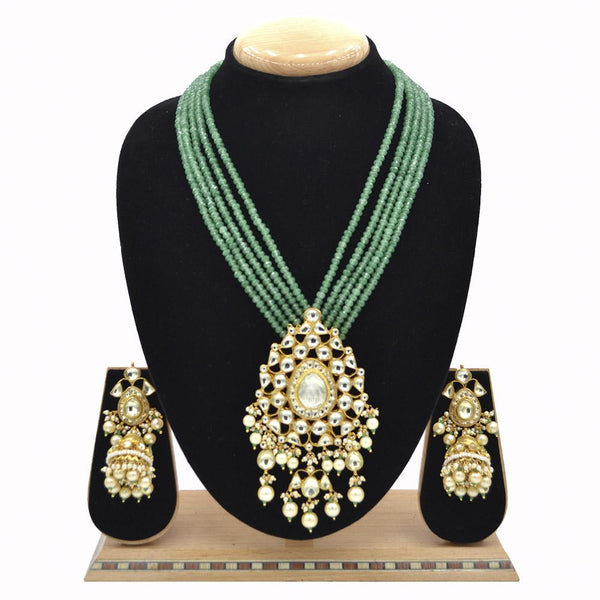 Emerald Pachi Kundan Jadau Pendent Set With Jade Green Mala And Jadau Kundan Jhumki - Ejkm0018