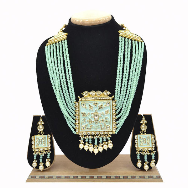 Emerald Jadau Pachi Kundan Pendent With Minakari Work And Feroza Beads Mala - Ejkm0019
