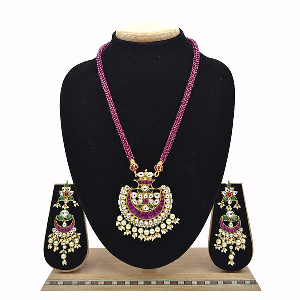 Emerald Pachi Kundan Pendent With Takkar Work And Ruby Hydro Mala - Ejkm0021