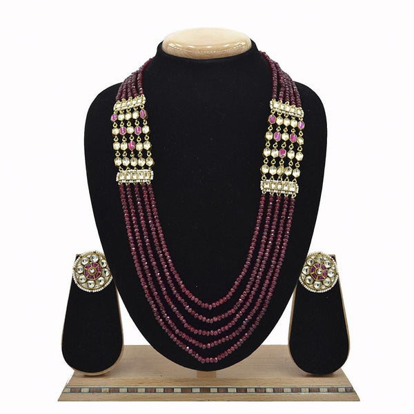 Emerald Pachi Kundan Mala Set With Jade Ruby Beads - Ejkm0022