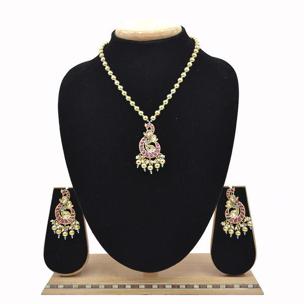 Emerald Pachi Kundan Jadau Pendent With Gold Plated Ball Mala - Ejkm0025