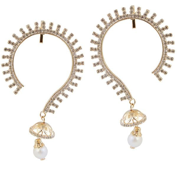 Tip Top Fashions White Austrian Stone Gold Plated Ear Cuff - 1303810