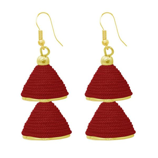 The99jewel Maroon Gold Plated Double Jhumki Thread Earring