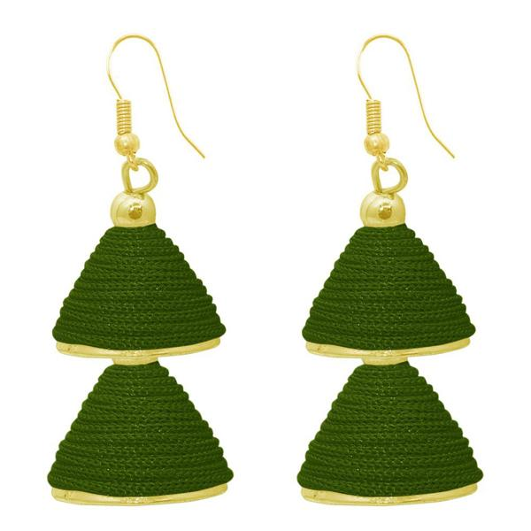The99jewel Green Gold Plated Double Jhumki Thread Earring