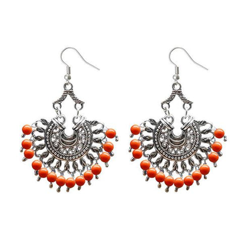 Tip Top Fashions Silver Plated Beads Afghani Dangler Earrings - 1311209F