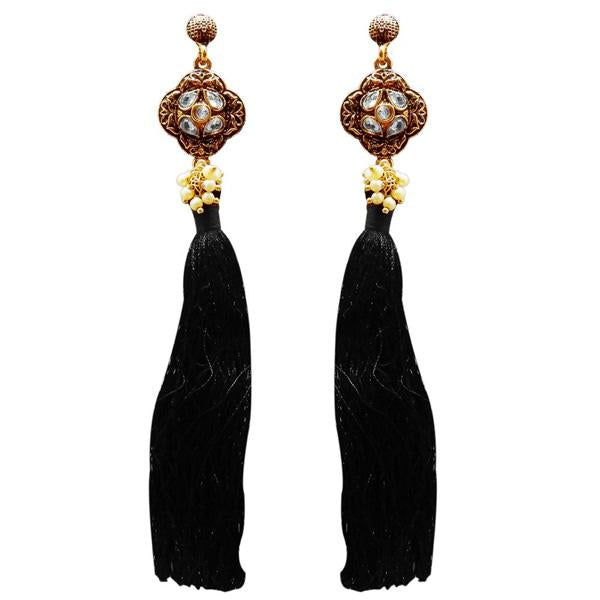 Tip Top Fashions Gold Plated Kundan Pearl Black Thread Earring - 1311414C