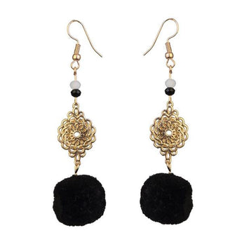 Tip Top Fashions Gold Plated Black Thread Earrings - 1310918C