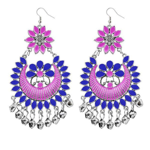 Tip Top Fashions Pink Meenakari Afghani Dangler Earrings - 1311056G
