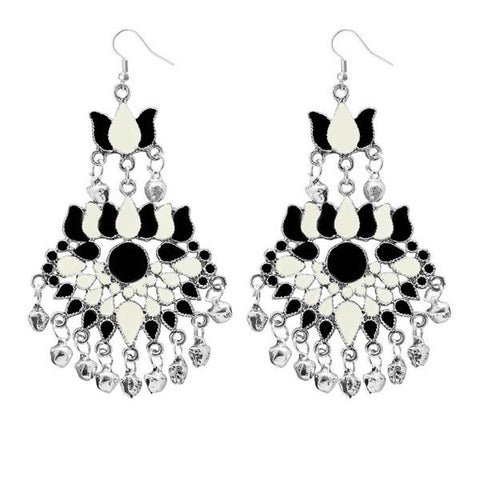Tip Top Fashions White Meenakari Afghani Dangler Earrings - 1311059C