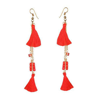 Tip Top Fashions Gold Plated Red Thread Earrings - 1310909D